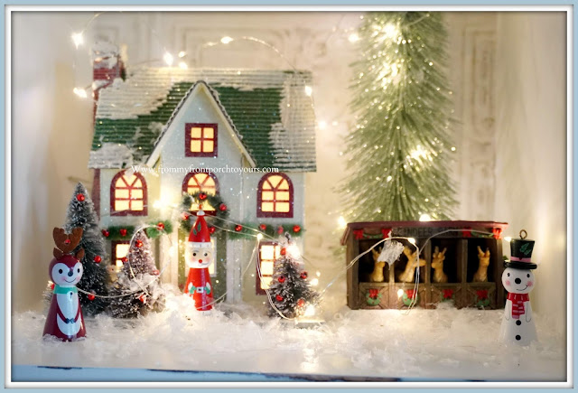 French- Farmhouse- Cottage- White- Dining- Room- Cabinet-Reindeer-Santa-Snowman-Ornaments-Whimsical-Christmas Vignettes-From My Front Porch To Yours