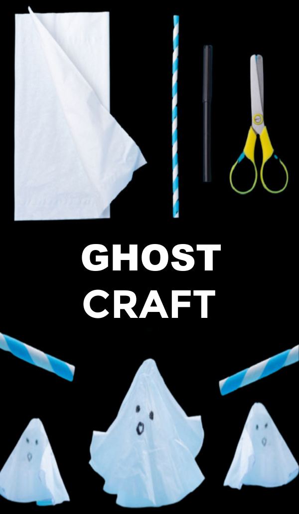 Flying ghosts craft for kids that doubles as a toy! #flyingghost #ghostactivitiesforkids #halloween #growingajeweledrose #activitiesforkids