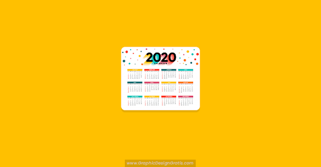 Calendario colorido 2020 editable