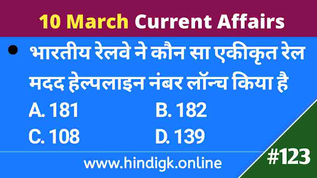 10 March  2021 Current Affairs In Hindi