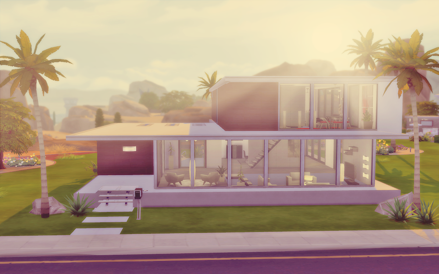 House 06 the sims 4 via sims for Casa moderna sims 3 sin expansiones