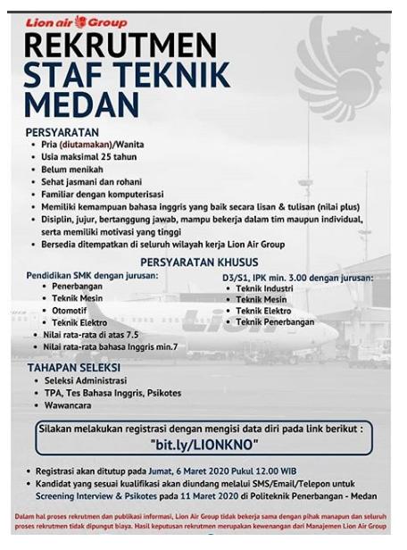 Rekrutmen Staff Teknik Maskapai Lion Air Group Tingkat SMK D3 S1 Bulan Maret 2020