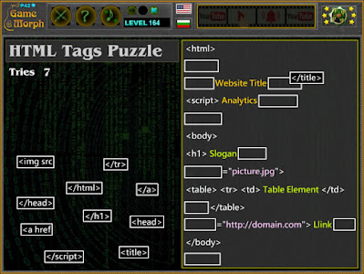 Play HTML Tags Puzzle