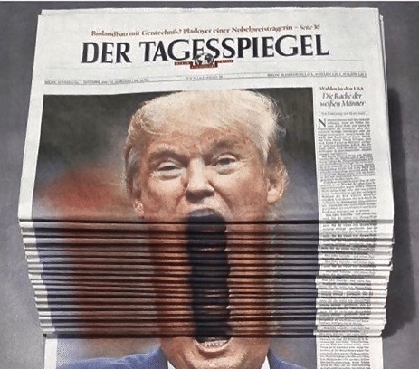 Trump with an open mouth on the cover of Der Tagesspiegel, daily German  newspaper. Layered and displayed so Trump appears tohave a huge mouth. Genius German humor. Lugenpresse - The Lying Press. Hitler and the lying press, and Trump and the fake news. marchmatron.com