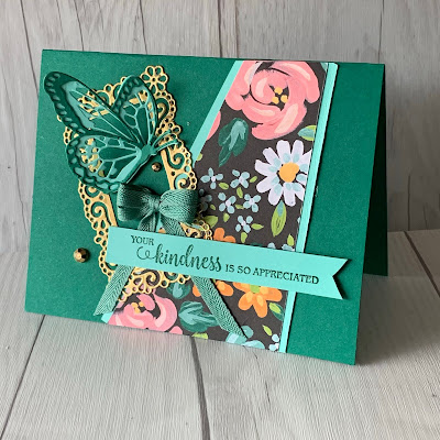 Floral Card using Stamping Up! Flower Blooms and Flower & Field Designer Series Paper