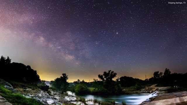 water and vegetation beneath stars