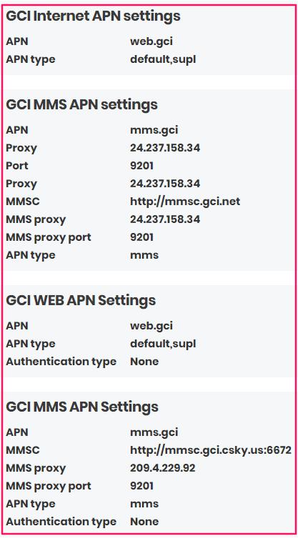 GCI APN Settings