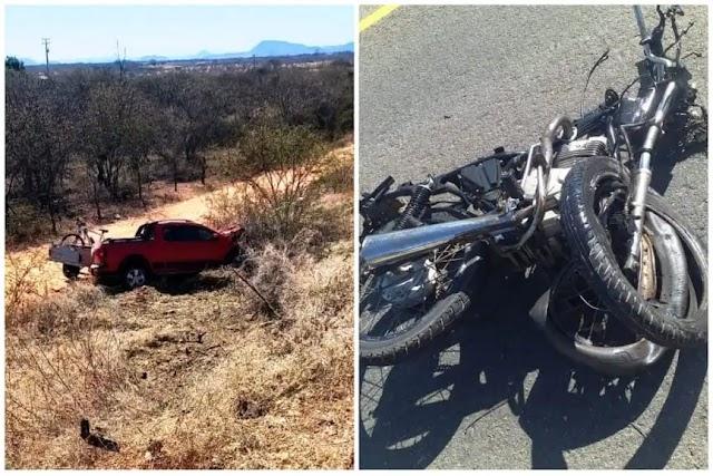 Colisão entre carro e moto deixa uma vítima fatal na BR-030 em Palmas de Monte Alto