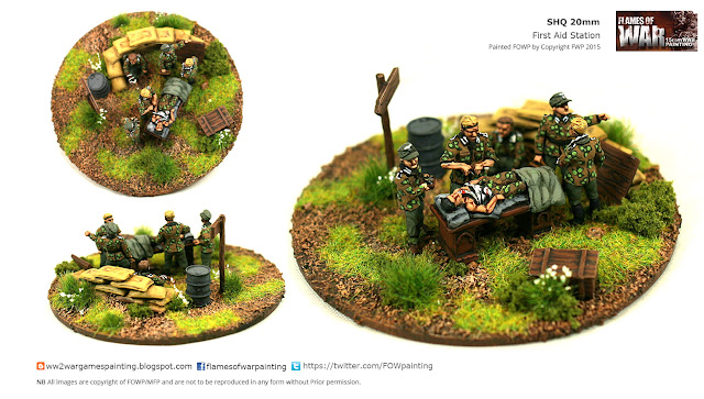 20mm First Aid Post  Figures and vehicle by SHQ. Miniature Painting and Diorama by FOWP