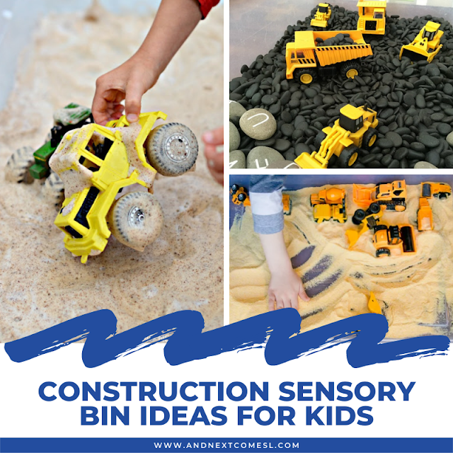 Construction sensory bin ideas for toddlers and preschoolers