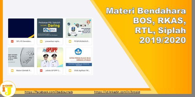 Materi Bendahara BOS, RKAS, RTL, Siplah 2019/2020