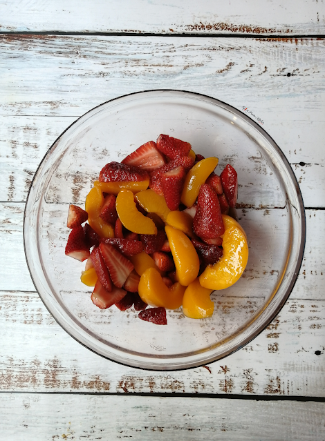 Strawberry and Peach Rustic Galette, food flatlay, flatlay, strawberry galette, peach galette, galette, galette recipe, fruit, strawberries, peaches, dessert, pie, tart, food, food photography, food blogger, food blog, food pictures, food recipe, dessert recipe, pastry, food stylist, spicy fusion kitchen, sweet, fruit tart, fruit galette, fruit pie, rustic galette, bowl of fruit
