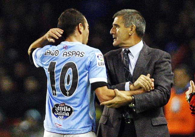 Paco Herrera y Iago Aspas (Foto: M.G.B.).