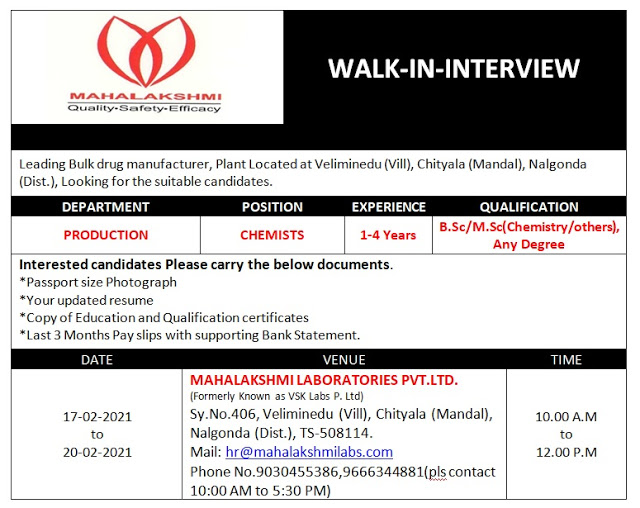 Mahalakshmi Labs | Walk-in interview for Production on 17th to 20th Feb 2021