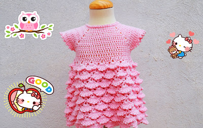 3 - Crochet Imagenes Vestido con abanicos a relieve por Majovel Crochet