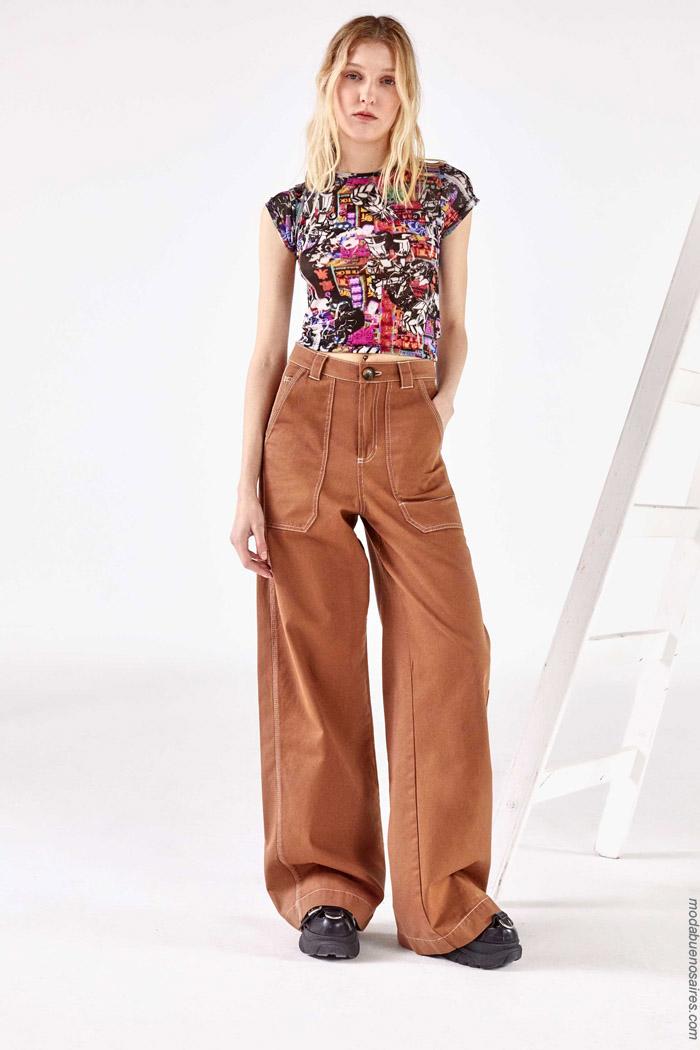 Pantalones juveniles anchos primavera verano 2020.