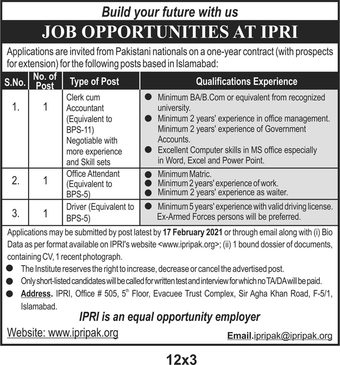 Islamabad Policy Research Institute Jobs 2021 - IPRI Jobs 2021 - Download Application Form - www.ipripak.org
