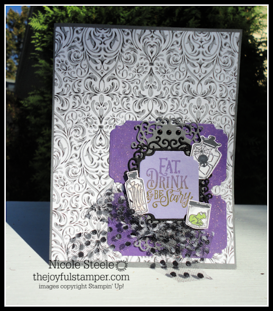 Splitcoaststampers SC771 Sketch Challenge Halloween card using Stampin' Up!'s Spooktacular Bash suite by Nicole Steele The Joyful Stamper