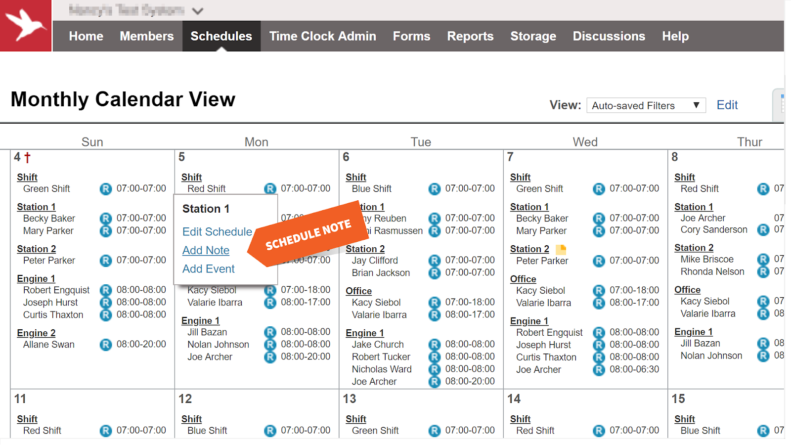 Add Schedule Note in the Monthly Calendar View