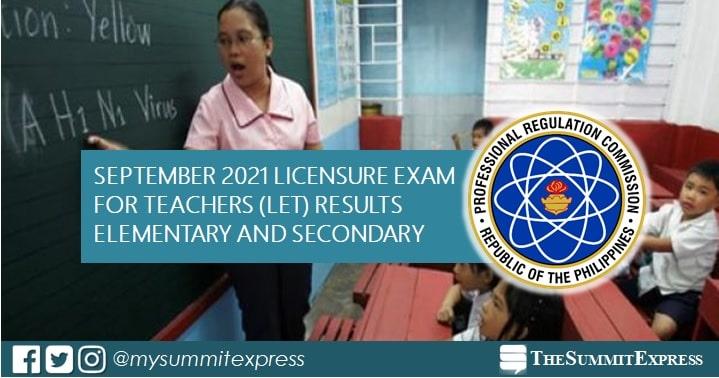 FULL RESULTS: September 2021 LET teachers board exam list of passers, top 10