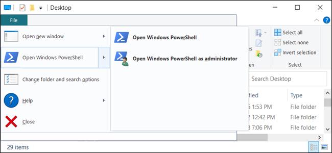 """خيار """"فتح Windows PowerShell"""" في مستكشف الملفات."""