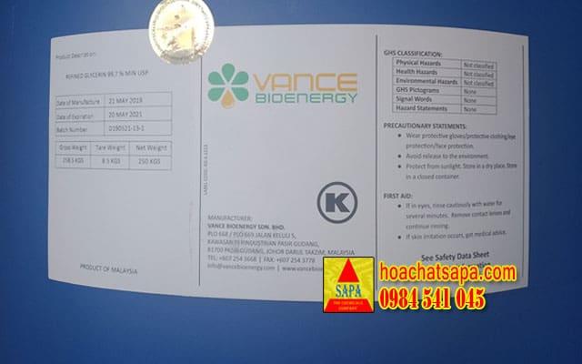 Glycerin - Vance - USP tiêu chuẩn dược