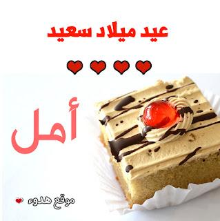اجمل صور تورتات باسم امل عيد ميلاد سعيد