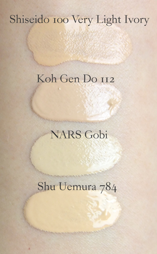 NARS All Day Luminous Weightless Foundation Gobi swatch comparison