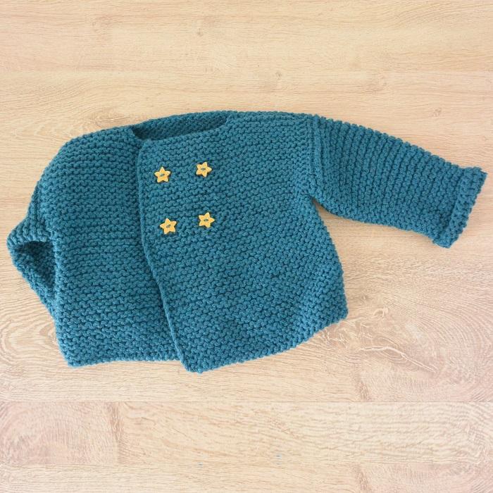 Paletot bébé 3 mois, laine Bergère de France, modèle Phildar  par Chat Tricote Par Ici, Hello c'est Marine
