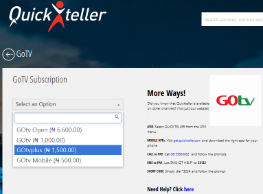 HOW TO SUBSCRIBE GOTV THROUGH QICKTELLER - Test