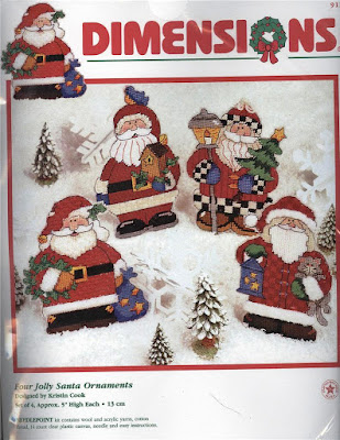 Four Jolly Santa Ornaments Plastic Canvas Kit