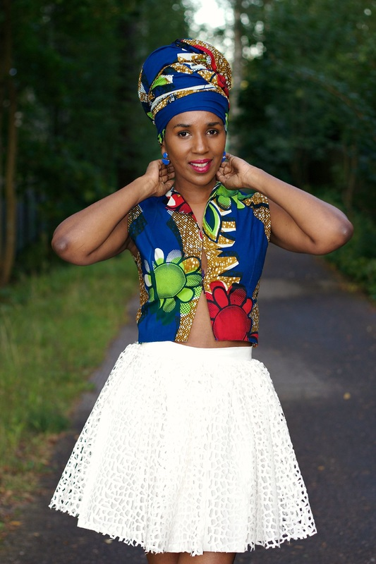 african print top and white short skirt