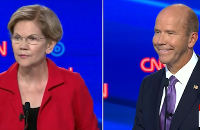 CNN Democrat presidential debate July 2019 John Delaney grin smile Elizabeth Warren