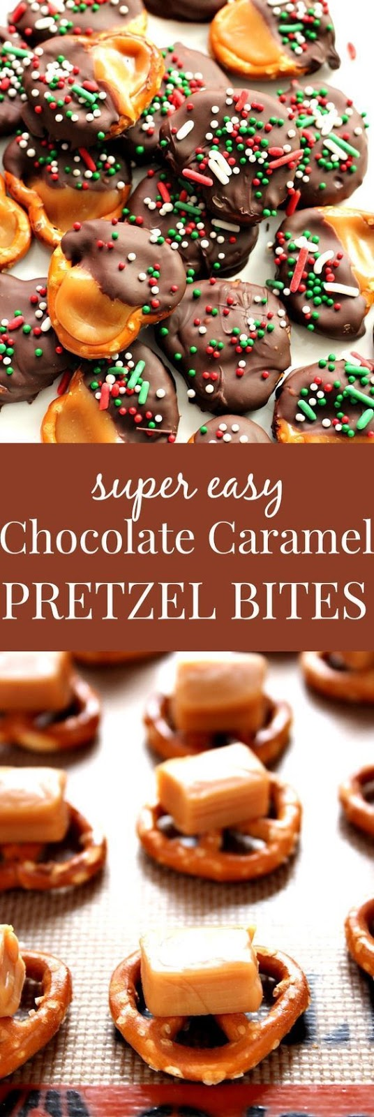 Easy Chocolate Caramel Pretzel Bites Recipe #christmasrecipes