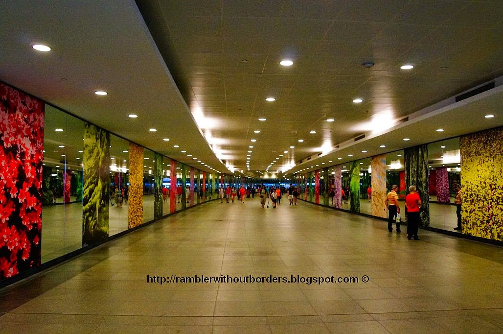 Underground tunnel connecting the Gardens by the Bay and Bayfront MRT station
