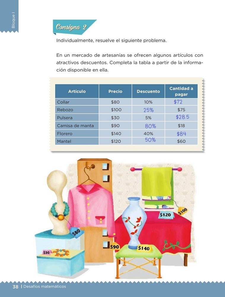 Libro de textoDesafíos MatemáticosMercancía con descuentoSexto gradoContestado