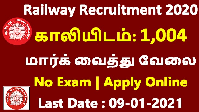 Railway Recruitment 2020 | Last Date : 09-01-2021