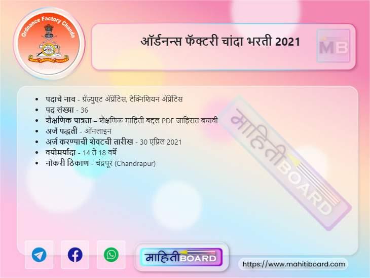 Ordnance Factory Chanda Bharti 2021