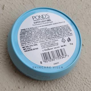 Ponds Super Light Gel Oil Free Moisturizer ingredients