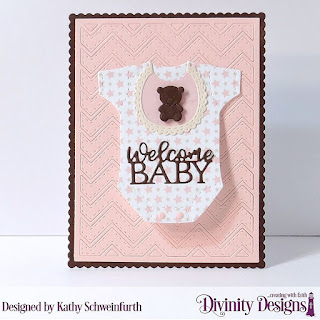 Divinity Designs Custom Die: Baby Blessings, Scalloped Rectangles, Chevron Background,  Paper Collection: Baby Girl