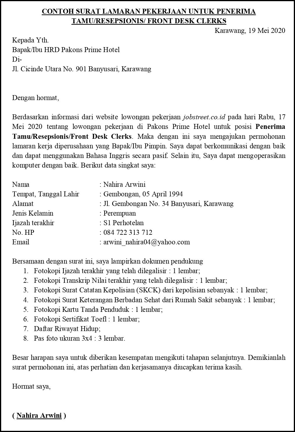 Contoh Surat Lamaran Pekerjaan Untuk Perhotelan Bagian Pelayanan Tamu Tanpakoma