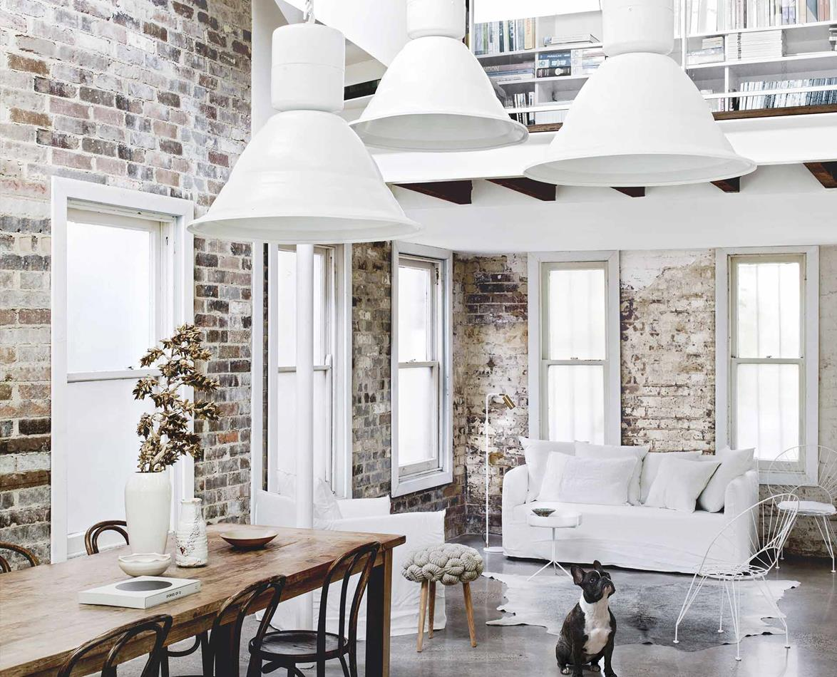 An all-white industrial-style home with minimalist charm in Sydney