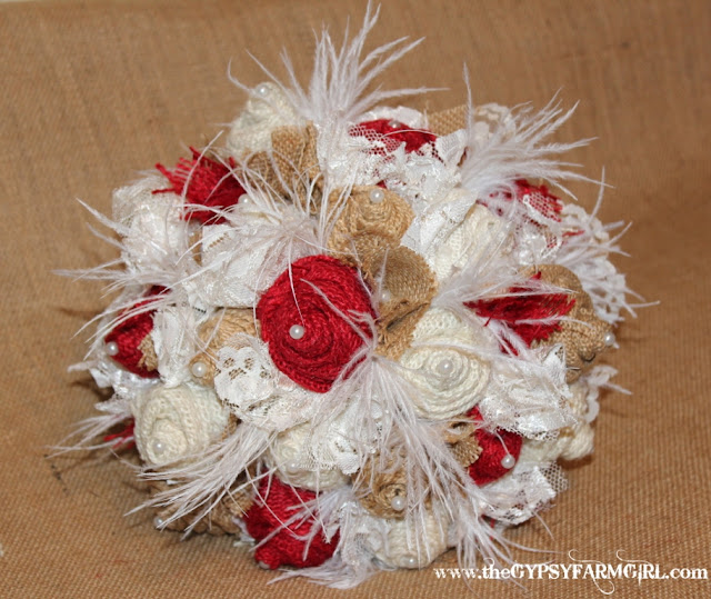 red, tan , and white burlap wedding bouquet