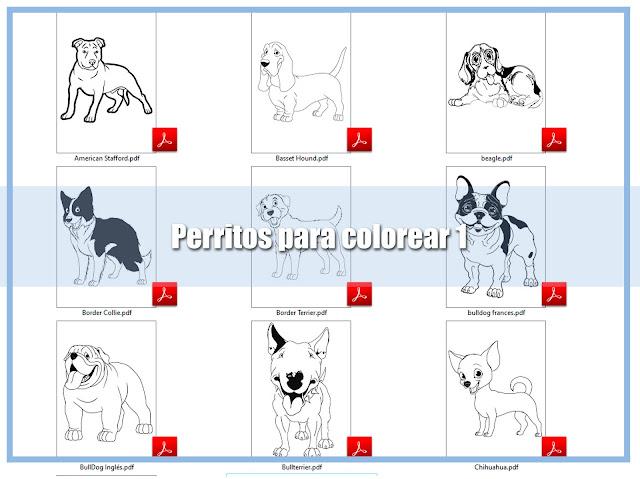 descarga dibujos de perritos para colorear