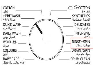معنى كلمة rinse spin في الغسالة