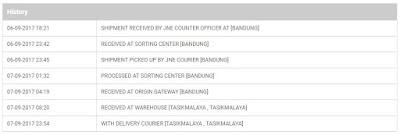 Ilustrasi status pengiriman ketika tracking paket di JNE