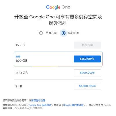 Google One費用
