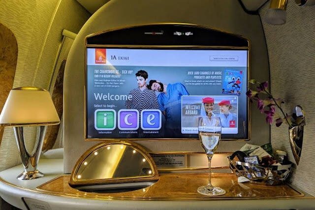 Emirates First Class Review: A view inside Emirates First Class private suite
