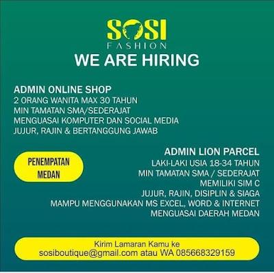 Lowongan Kerja Juni 2020 di Sosi Fashion Medan Sebagai Admin Online