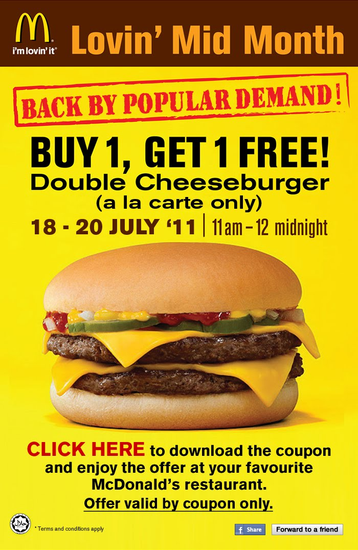 McD Lovin' Mid Month - BUY 1 GET 1 FREE Double Cheeseburger